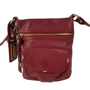B Makowsky Dark Red Leather Handbag Crossbody Bag